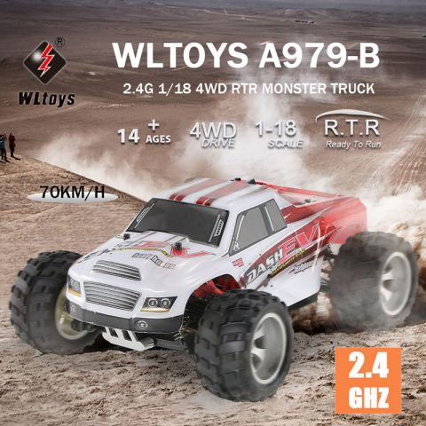43% OFF for WLtoys A979-B 2.4G 118 Scale 4WD 70KMh High Speed Electric RTR Monster Truck RC Car!